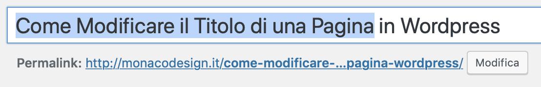 come modificare titolo di una pagina wordpress