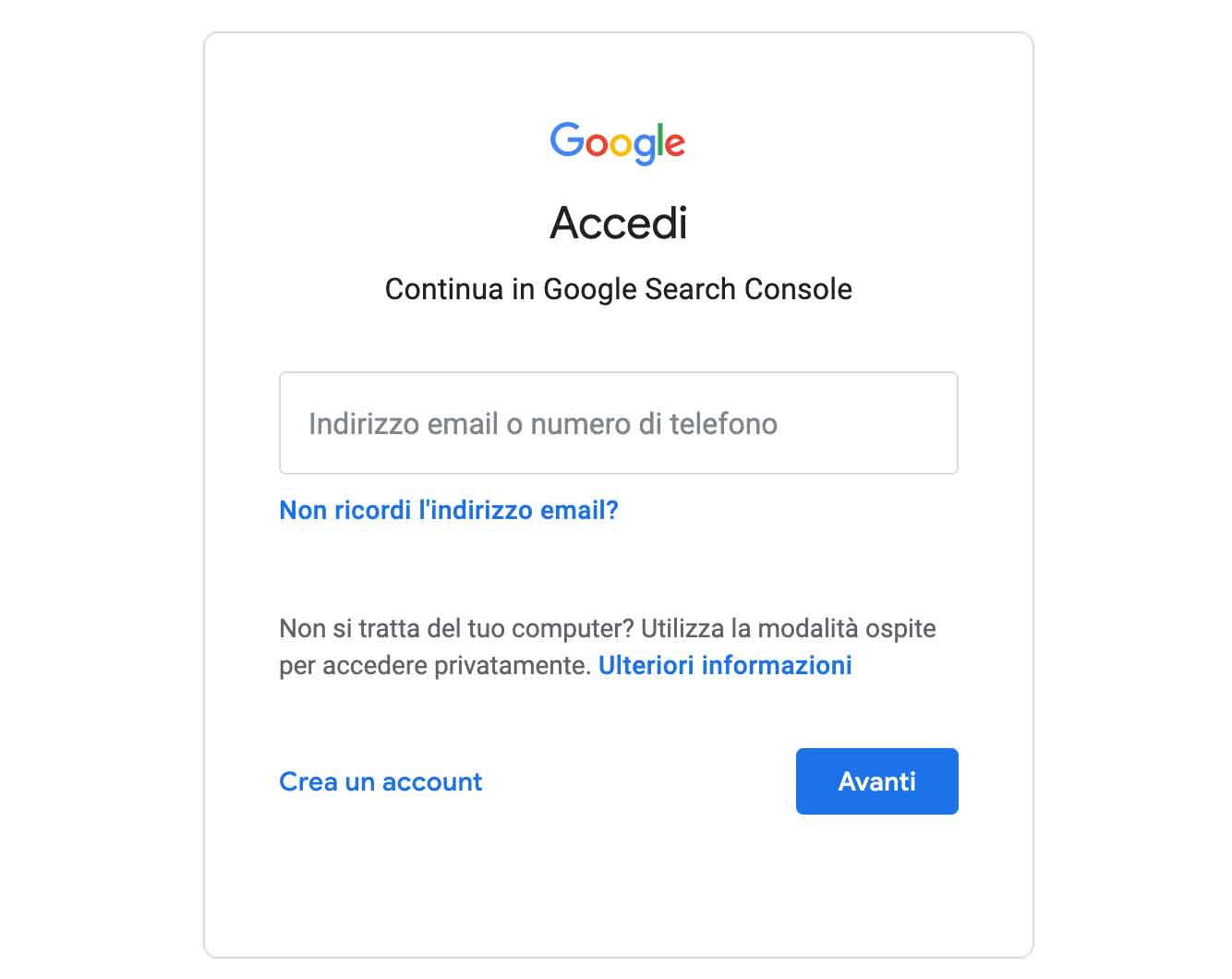 Creare account Google Search Console